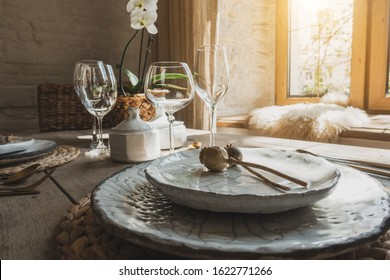 Beautifully served dishes on the kitchen table