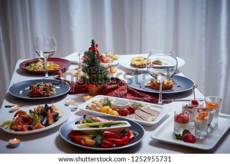 Beautifully Set Table Christmas Beautiful Christmas Table Stock