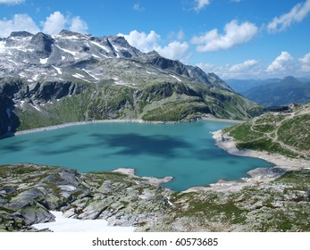 beautifully situated alpine lake in the Alps Weissee