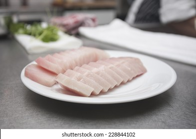 Beautifully sliced albacore tuna sashimi, prepped for a dish