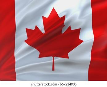 Beautifully waving flag of Canada. 3d illustration