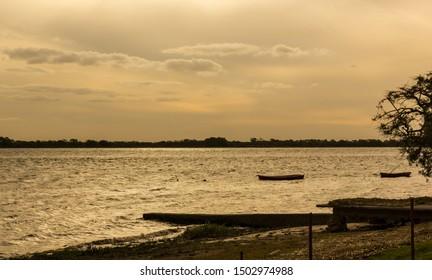 Beautigul sunset on Rio Uruguay border between Uruguay and Argentina. South america.