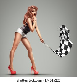 Beautilful girl waving racing flags. High resolution