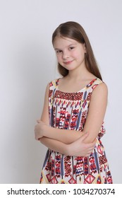 Beautirul studio portrait of european caucasian teen girl