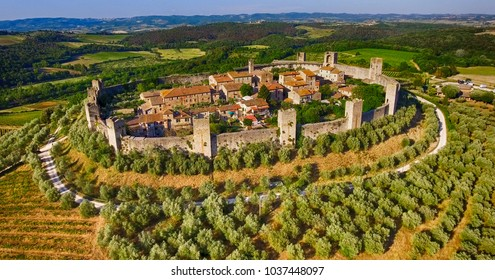 Beautiul aerial view of Monteriggioni, Tuscany medieval town on the hill.
