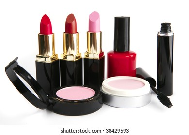 beauty accessories set isolated over white background