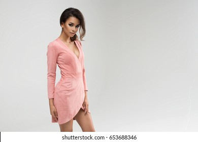 Beauty Afro young woman in pink dress
