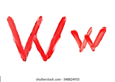 """Beauty alphabet set - red lipstick letters isolated on white background. """"W"""" letter."""
