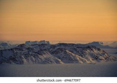 Beauty of Antarctica during morning with mirage phenomenon.