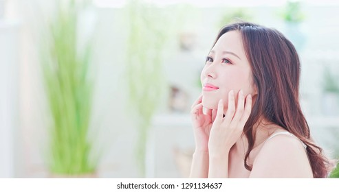 Beauty Asian Skin care woman smile to you at home