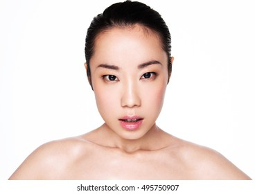 Beauty asian woman healthy cosmetic makeup portrait on white background