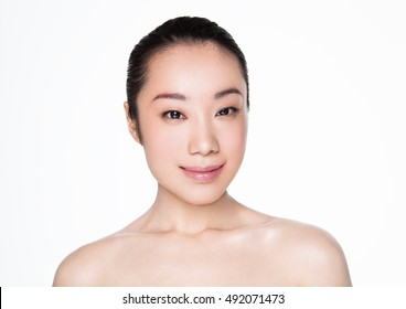 Beauty asian woman smile  healthy  makeup portrait on white background