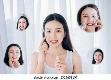 Beauty Asian woman use acne gel skincare after cleansing on face his happiness concept, Popup happy when using everyday treatment or makeup.