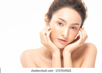 Beauty asian women portrait face with natural skin and skin care healthy hair and skin close up face beauty portrait.Beauty Concept.