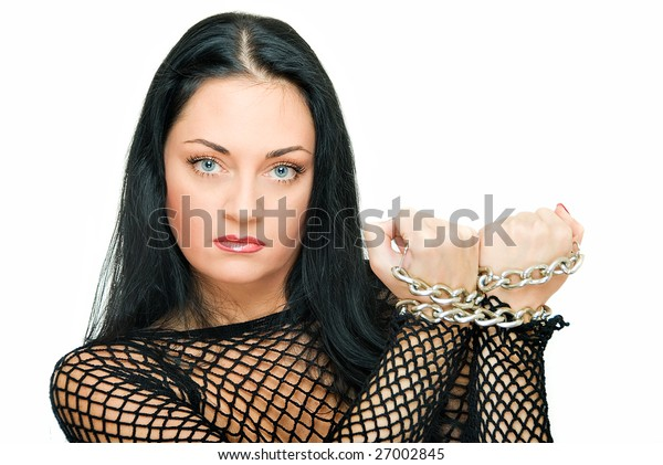 beauty assured woman with chains on wrist