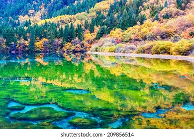 beauty autumn in jiuzhaigou valley national park ,fairy tale picture