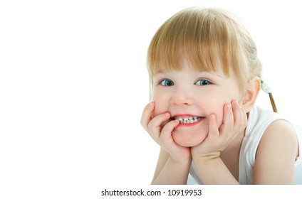 beauty baby face on white background - 3 years old