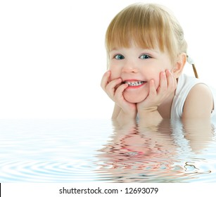 beauty baby face with ripples in the water