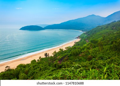 Beauty bay beach aerial panoramic view from the Hai Van Quan pass in Danang city in Vietnam
