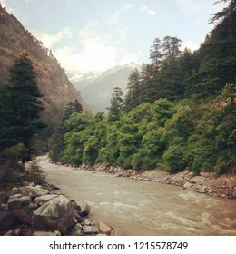The beauty at its best beside river Parvati in Kasol, Himachal Pradesh, India.