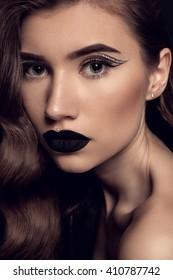 Beauty Black Lip Makeup, Beauty Fashion Model Girl with Black Make up, Long Lushes. Fashion Trendy Caviar Black Manicure.