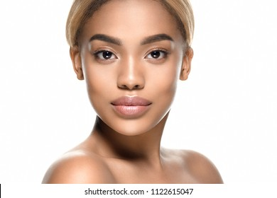 Beauty black skin woman african ethnic female face portrait