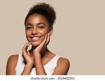 Beauty black skin woman face cosmetic portrait - Shutterstock ID 1924402391