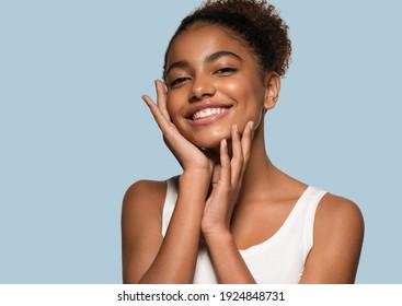Beauty black skin woman face beautiful young happy model