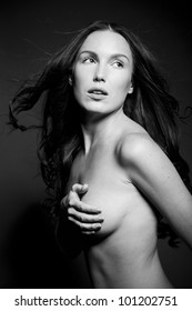 Beauty black and white sensual woman portrait