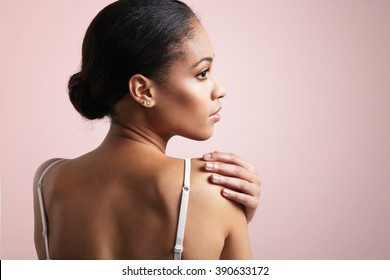 beauty black woman from the back