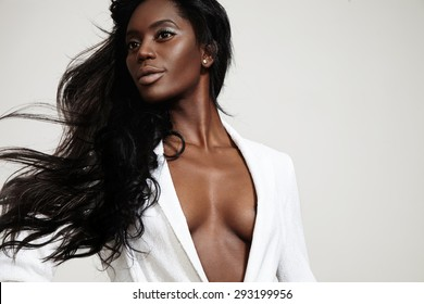 beauty black woman with a straight blowing hair