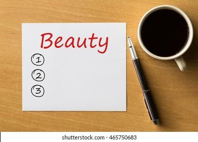 Beauty blank list, fitness, sport, health concept