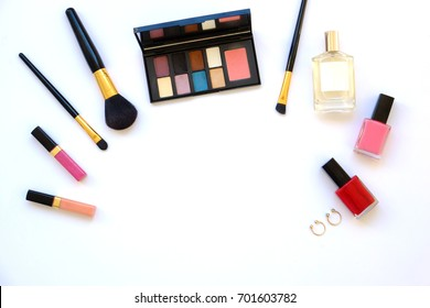 Beauty blog concept. Flat lay, top view trendy fashion feminine background.