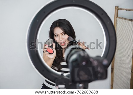 Beauty Blogger Makeup Tutorial Video Blog Stock Photo Edit Now