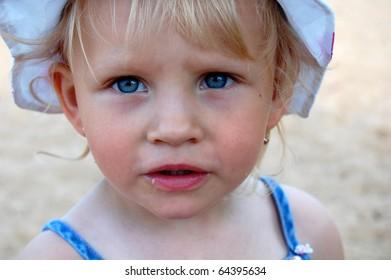 beauty blond litlle girl, closeup