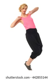Beauty blond woman in modern pants isolated on white background