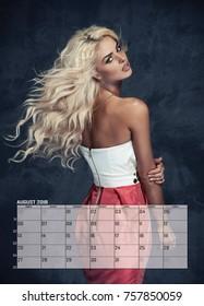 Beauty blonde woman , August  Calendar