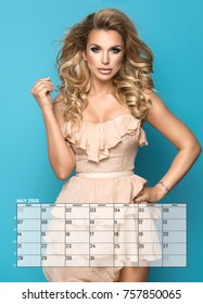 Beauty blonde woman , May Calendar