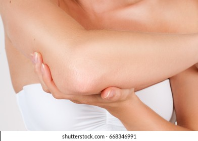 Beauty and Body care. Female elbow and health care concept.