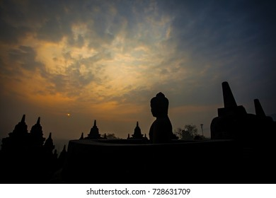 The beauty of Borobudur temple, the biggest buddhist temple in the world, in Jogjakarta, Magelang, Central Java, Indonesia