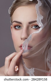 Beauty bride portrait with make up