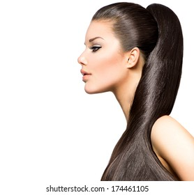 Beauty Brunette Fashion Model Girl with Long Healthy Straight Brown Hair, Ponytail Hairstyle. Beautiful Woman with brown long Healthy Smooth Straight hair