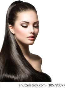 Beauty Brunette Fashion Model Girl with Long Healthy Straight Hair, Ponytail Hair. Trendy hairstyle. Beautiful Woman with brown long Healthy smooth hair