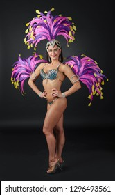 Beauty brunette woman in cabaret suit with rhinestones. Beautiful professional  make-up  , perfect headdress with natural feathers and rhinestones. Beautiful Girl in carnival costume.