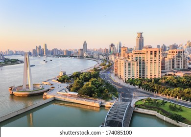 the beauty of the bund, shanghai in the morning,China