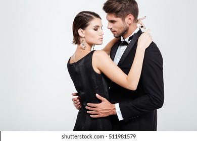 Beauty business people dancing. cuddling