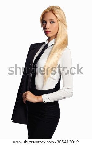 a3eaebbc2b1 beauty business woman in formal suit and tie. sexy teacher.beautiful blond  girl in