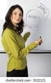 Beauty businesswoman standing in front of blackboard. Smiling and showing the graph. Looking at camera, side view. Gray background