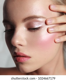 beauty close-up. natural make-up for young woman. glowing healthy skin