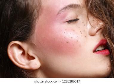 beauty closeup portrait of young woman face skin makeup